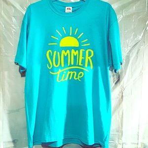 """""""Summertime"""" size: Large T-shirt color: Aqua"""